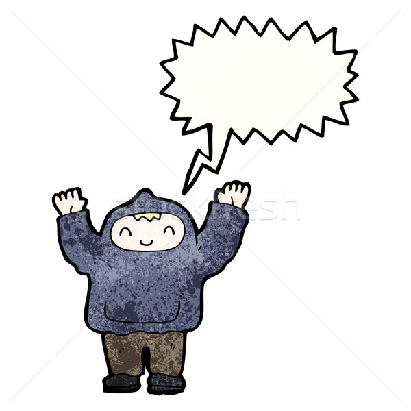 shouting boy in hooded top Stock photo © lineartestpilot