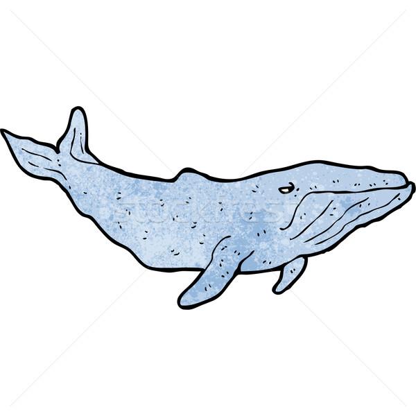 Desenho animado azul baleia arte retro desenho Foto stock © lineartestpilot