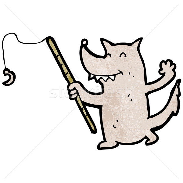 cartoon wolf with fishing rod Stock photo © lineartestpilot