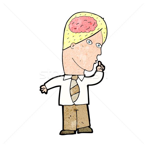 Desenho animado empresário enorme cérebro homem projeto Foto stock © lineartestpilot