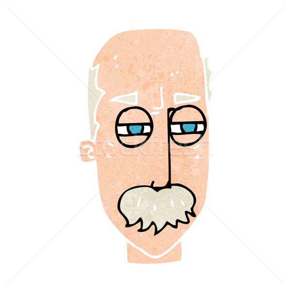 Cartoon infastidito vecchio mano faccia uomo Foto d'archivio © lineartestpilot
