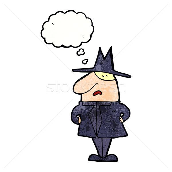 Cartoon uomo cappotto Hat bolla di pensiero mano Foto d'archivio © lineartestpilot
