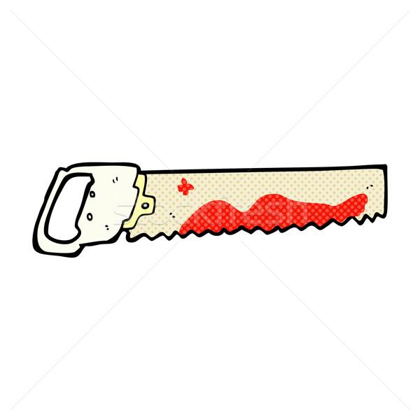 Komische cartoon bloedig zag retro Stockfoto © lineartestpilot