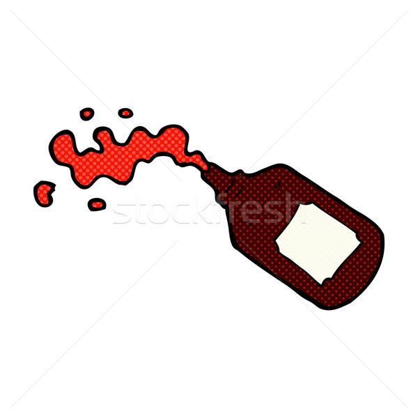 comic cartoon squirting blood bottle Stock photo © lineartestpilot