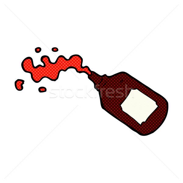 Fumetto cartoon sangue bottiglia retro Foto d'archivio © lineartestpilot