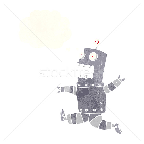 cartoon terrified robot with thought bubble Stock photo © lineartestpilot