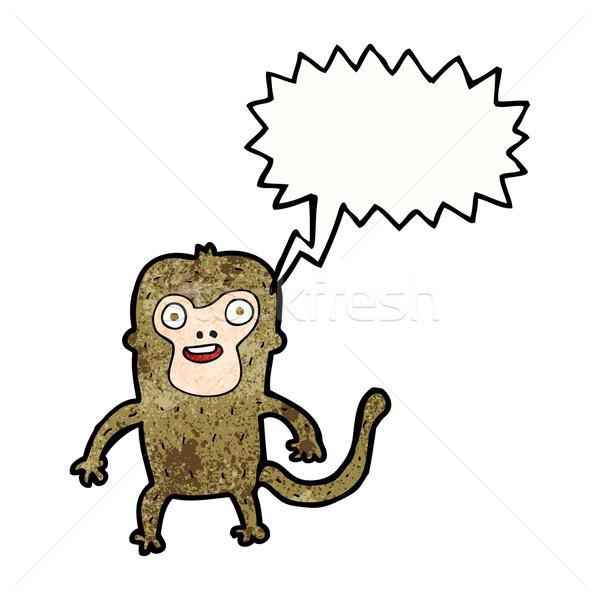 Cartoon małpa dymka strony szczęśliwy projektu Zdjęcia stock © lineartestpilot