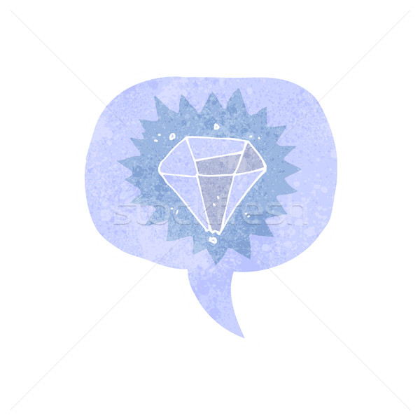 cartoon diamond with speech bubble Stock photo © lineartestpilot
