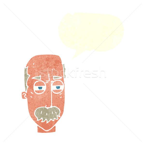 Rajz bosszús idős férfi szövegbuborék kéz arc Stock fotó © lineartestpilot