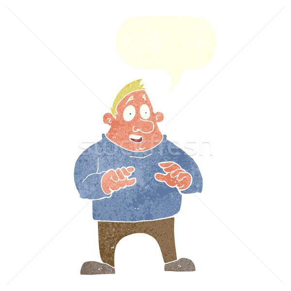 Rajz izgatott túlsúlyos férfi szövegbuborék kéz Stock fotó © lineartestpilot