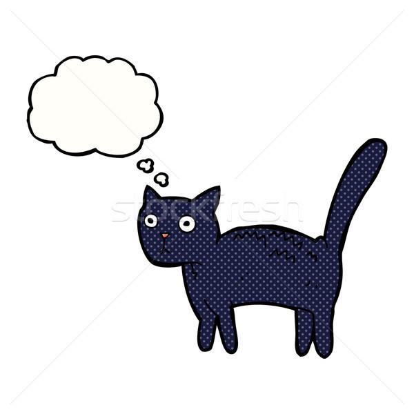 Cartoon spaventato cat bolla di pensiero mano design Foto d'archivio © lineartestpilot