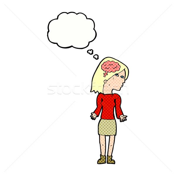 Cartoon inteligente mujer espalda burbuja de pensamiento mano Foto stock © lineartestpilot