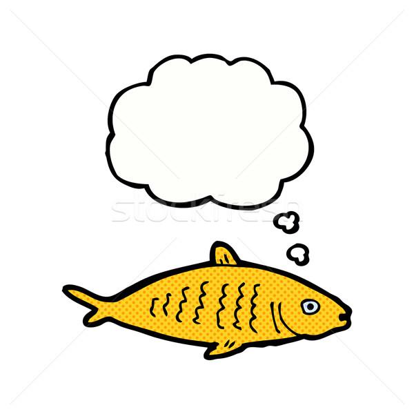 Cartoon рыбы мысли пузырь стороны дизайна искусства Сток-фото © lineartestpilot
