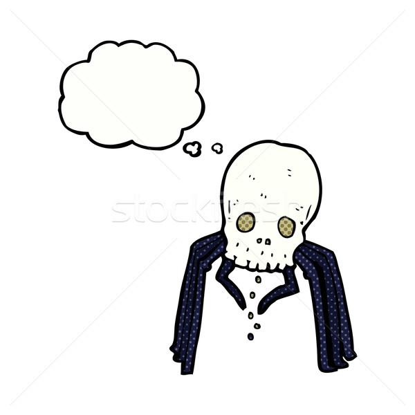 Cartoon cranio spider bolla di pensiero mano Foto d'archivio © lineartestpilot