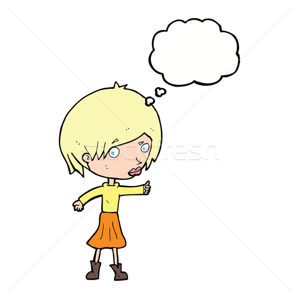 cartoon woman raising eyebrow with thought bubble Stock photo © lineartestpilot