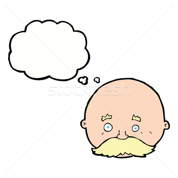 cartoon bald man with mustache with thought bubble Stock photo © lineartestpilot