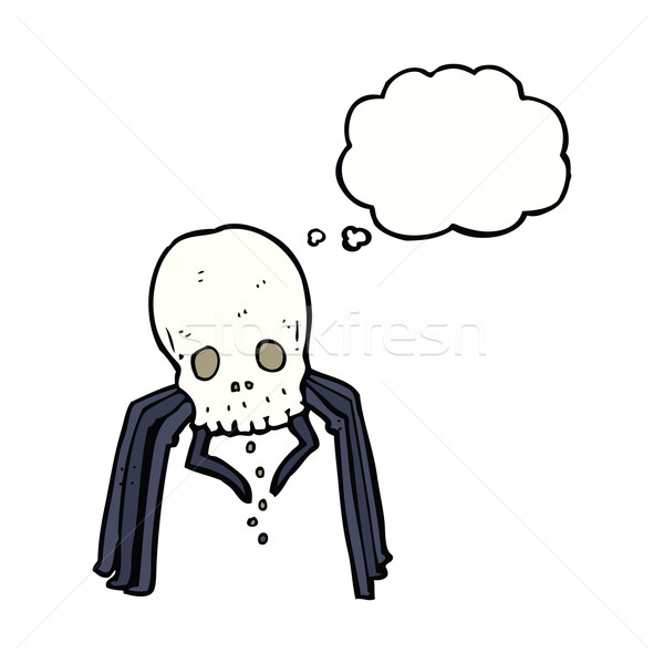 cartoon spooky skull spider with thought bubble Stock photo © lineartestpilot