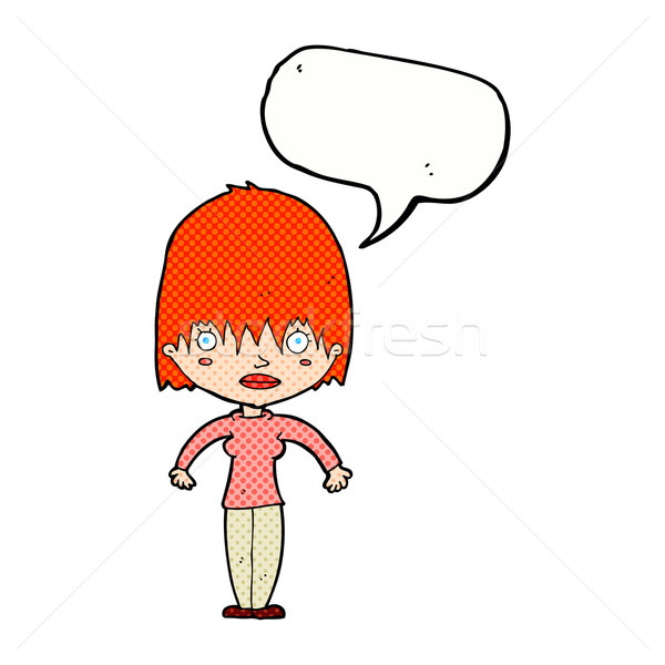 cartoon woman staring with speech bubble Stock photo © lineartestpilot