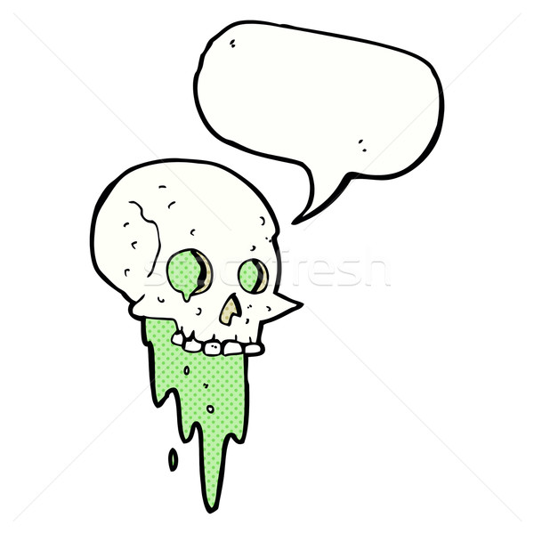 gross halloween skull cartoon with speech bubble Stock photo © lineartestpilot