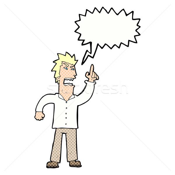 Foto stock: Cartoon · enojado · hombre · punto · bocadillo