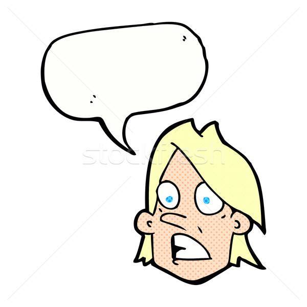 cartoon frightened face with speech bubble Stock photo © lineartestpilot