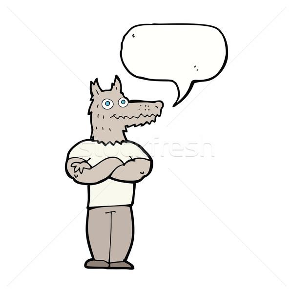 漫画 狼 吹き出し 手 デザイン 頭 ストックフォト © lineartestpilot