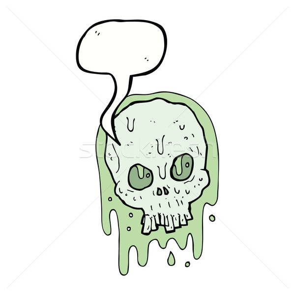 Karikatür sümüksü kafatası konuşma balonu el dizayn Stok fotoğraf © lineartestpilot