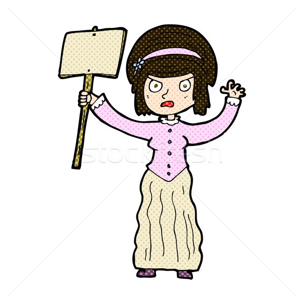 comic cartoon vicorian woman protesting Stock photo © lineartestpilot