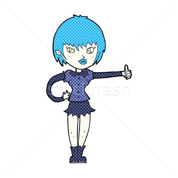 Сток-фото: комического · Cartoon · вампир · девушки · знак