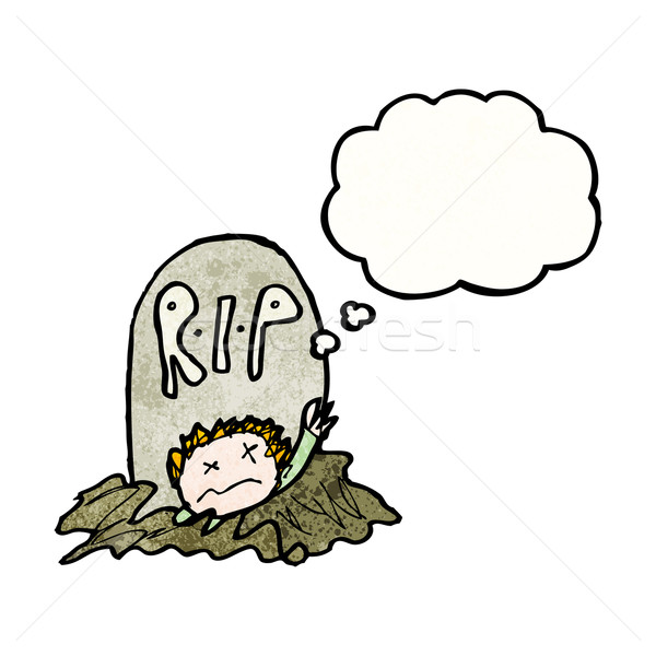 cartoon zombie rising from grave Stock photo © lineartestpilot