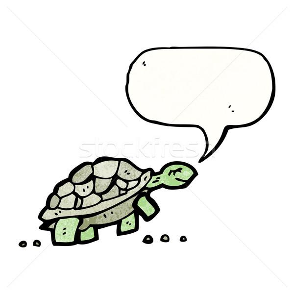 Rajz teknősbéka sétál beszél retro rajz Stock fotó © lineartestpilot