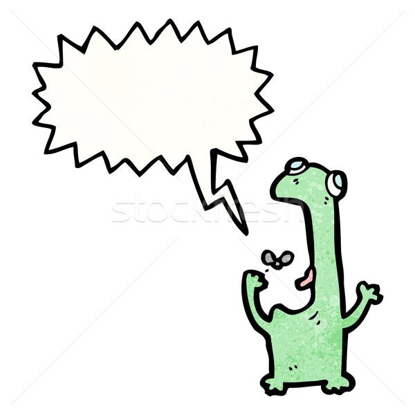 Stock photo: frog cartoon character eating fly