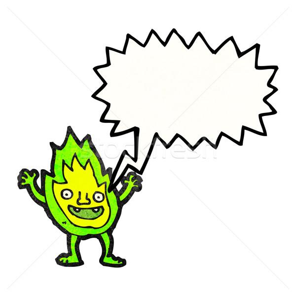 Cartoon зеленый огня тварь речи пузырь искусства Сток-фото © lineartestpilot