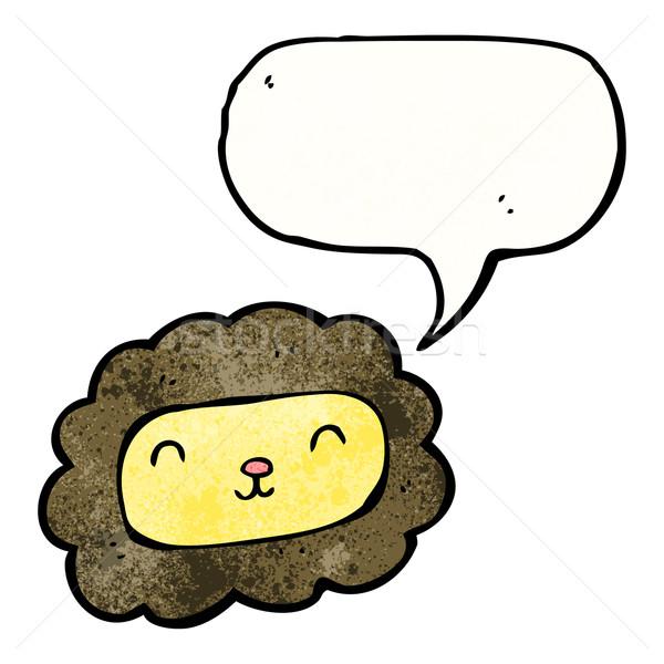 Cartoon lew dymka sztuki mówić retro Zdjęcia stock © lineartestpilot