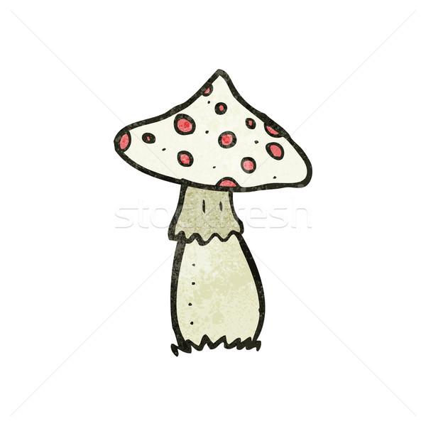 Desenho animado cogumelo venenoso retro textura isolado branco Foto stock © lineartestpilot