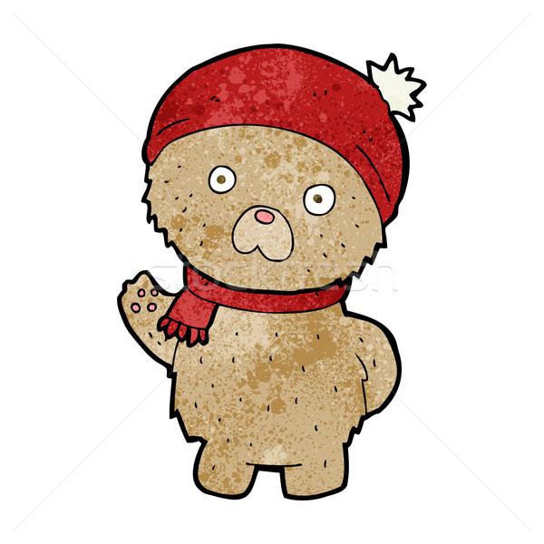 漫画 テディベア 冬 帽子 スカーフ デザイン ストックフォト © lineartestpilot