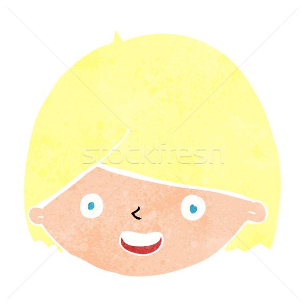 Cartoon blij gezicht hand gezicht gelukkig ontwerp Stockfoto © lineartestpilot