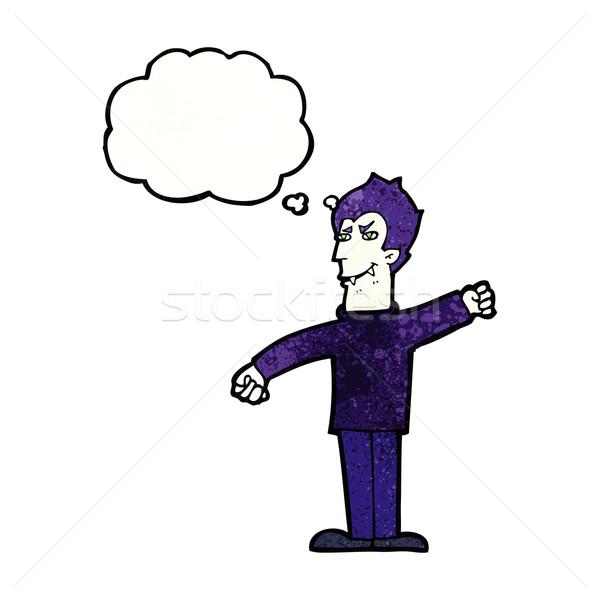 Cartoon wampira człowiek bubble myśl strony projektu Zdjęcia stock © lineartestpilot