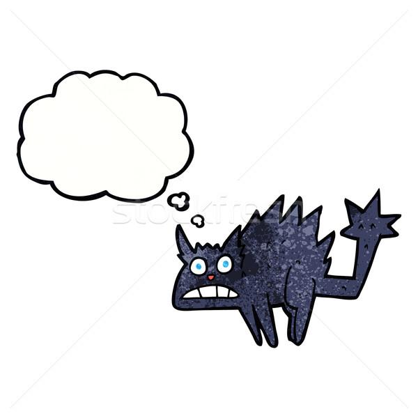 Cartoon przestraszony bubble myśl strony kot Zdjęcia stock © lineartestpilot