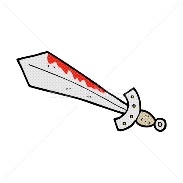 комического Cartoon кровавый меч ретро Сток-фото © lineartestpilot