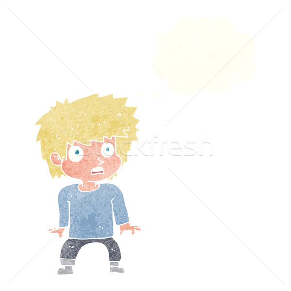 Cartoon asustado nino burbuja de pensamiento mano hombre Foto stock © lineartestpilot