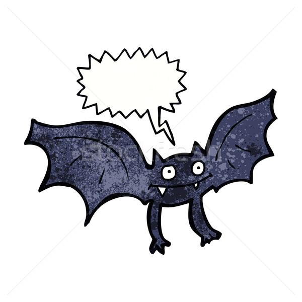 Karikatür vampir bat konuşma balonu el dizayn Stok fotoğraf © lineartestpilot