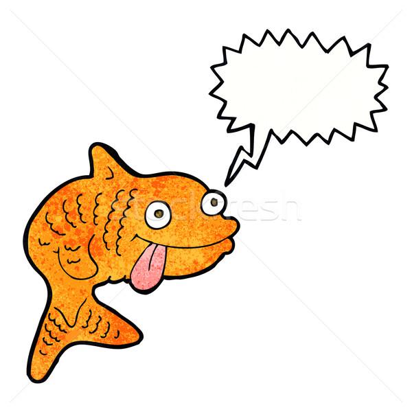 Cartoon peces bocadillo mano diseno animales Foto stock © lineartestpilot