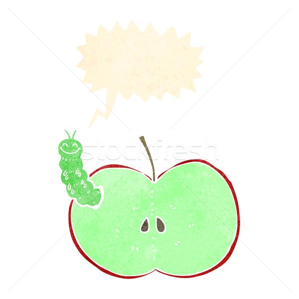 Cartoon bug eten appel tekstballon hand Stockfoto © lineartestpilot
