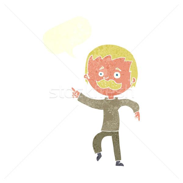 Cartoon homme moustache pointant bulle main Photo stock © lineartestpilot