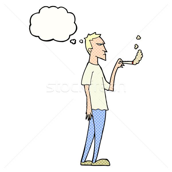 Rajz bosszús dohányos gondolatbuborék kéz terv Stock fotó © lineartestpilot