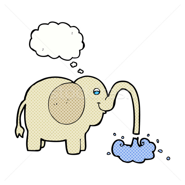 cartoon elephant squirting water with thought bubble Stock photo © lineartestpilot