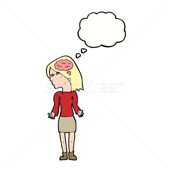 Cartoon astucieux femme épaules bulle de pensée main Photo stock © lineartestpilot
