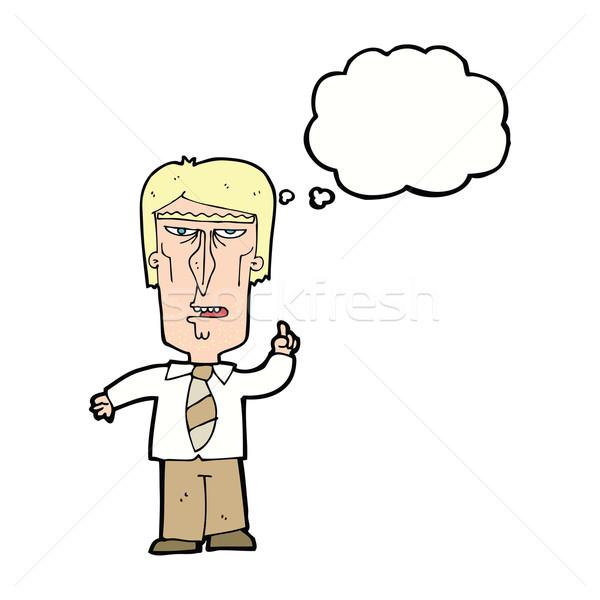 Cartoon grincheux patron bulle de pensée main homme Photo stock © lineartestpilot