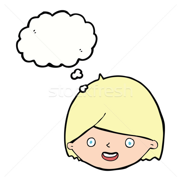 Cartoon blij gezicht gedachte bel hand gezicht gelukkig Stockfoto © lineartestpilot